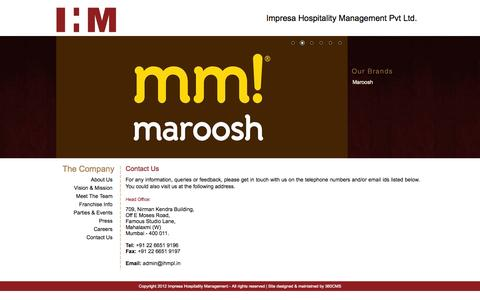Screenshot of Contact Page ihmpl.in - IMPRESA |  Contact Us - captured Oct. 4, 2014