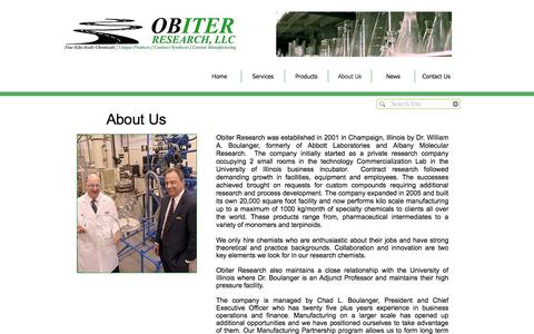 Screenshot of About Page obires.com - Obiter Research - About Us - captured Dec. 2, 2016