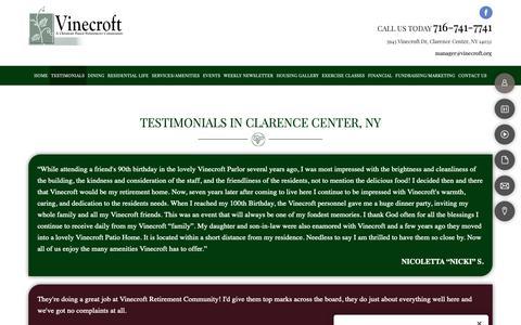 Screenshot of Testimonials Page vinecroft.org - Testimonals | Clarence Center, NY | Vinecroft Retirement Center - captured Nov. 2, 2018