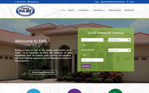 Screenshot of Home Page fabi.org - FABI | Florida Association of Building Inspectors - captured April 13, 2016