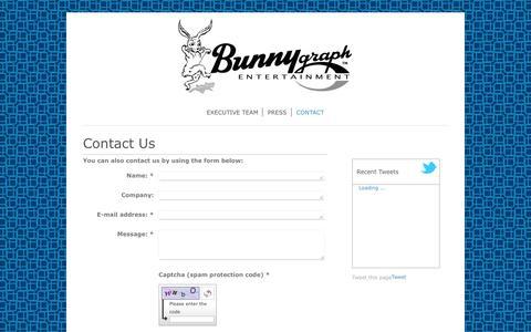 Screenshot of Contact Page bunnygraph.com - Bunnygraph Entertainment, Inc. - CONTACT - captured Feb. 8, 2016