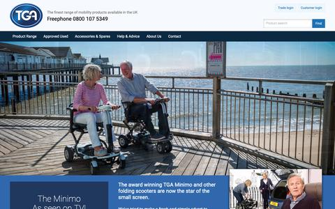 Screenshot of Home Page tgamobility.co.uk - Mobility Scooters, New & Used Disability Scooter Range  TGA Mobility - captured Nov. 7, 2018