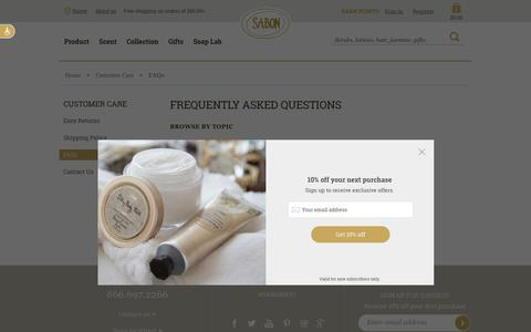 Screenshot of FAQ Page sabonnyc.com - FAQs - captured Nov. 5, 2018