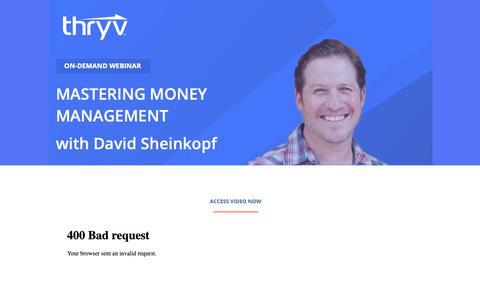 Screenshot of Landing Page thryv.com - Biz Talk Webinar Series - Mastering Money Management with David Sheinkopf. - captured Oct. 5, 2018