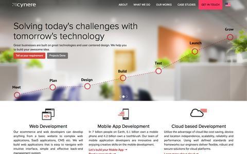 Screenshot of Home Page cynere.com - Web Development Company India - captured Sept. 23, 2014