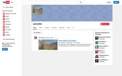Screenshot of YouTube Page youtube.com - ACICORK  - YouTube - captured Oct. 23, 2014