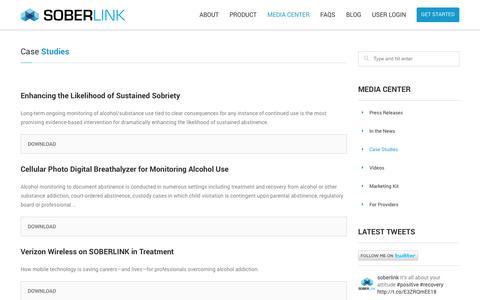 Screenshot of Case Studies Page soberlink.net - Case Studies | SOBERLINK - captured Oct. 10, 2014