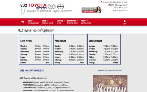 Screenshot of Hours Page 802toyota.com - Hours of Operation & Holiday Closures | 802 Toyota - captured Feb. 13, 2016