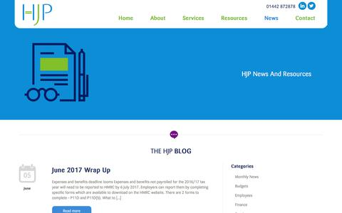 Screenshot of Press Page hjpchartered.com - Contact HJP for the latest accountancy advice for businesses in Hertfordshire and across the UK | Why your business needs the help, support and expertise of a forward-thinking Chartered Accountancy practice - captured July 11, 2017