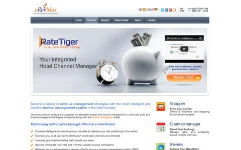 Screenshot of Products Page erevmax.com - Hotel Channel Management, Online Distribution I eRevMax - RateTiger - captured Sept. 25, 2014