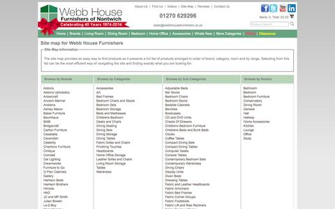 Screenshot of Site Map Page webbhousefurnishers.co.uk - Webb House Furnishers - Site Map - captured Sept. 30, 2014
