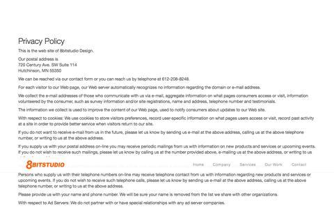 Screenshot of Privacy Page 8bitstudio.com - 8bitstudio - Minneapolis, MN Web Design Company Privacy Policy - captured Oct. 27, 2014
