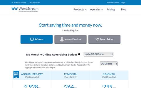 Screenshot of Pricing Page wordstream.com - Choose a plan that works for you. | WordStream - captured April 19, 2018