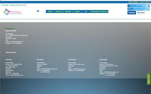 Screenshot of Contact Page niseholidays.com - Contact us -Niseholidays.com - captured Oct. 7, 2014