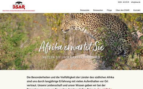 Screenshot of Home Page dsar.de - Afrika erwartet Sie - Nutzen Sie unser Expertenwissen  | DSAR.de - captured Oct. 30, 2018