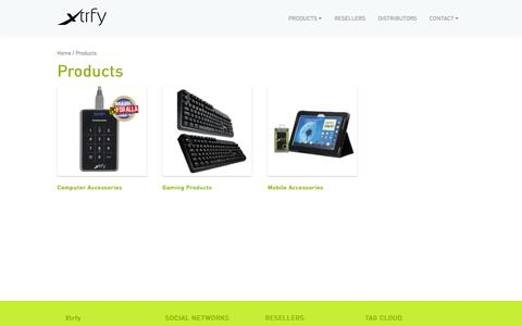 Screenshot of Products Page xtrfy.com - Products - captured Oct. 7, 2014