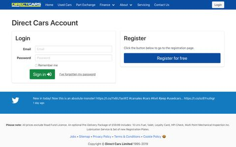 Screenshot of Login Page directcars.co.uk - Account - Direct Cars - captured Sept. 19, 2019