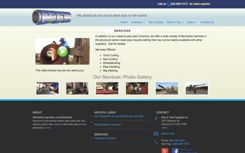 Screenshot of Services Page ptsi-us.com - Pipe Fabrication Services from PTSI, Inc. - captured Nov. 2, 2014