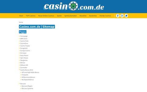 Screenshot of Site Map Page casino.com.de - Casino.com.de | Sitemap - captured Sept. 23, 2014