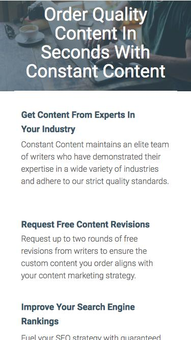 Order Quality Content In Seconds With Constant Content