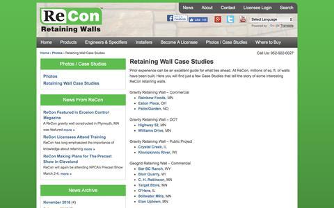 Screenshot of Case Studies Page reconwalls.com - Retaining Wall Case Studies | ReCon Retaining Walls - captured Dec. 10, 2016