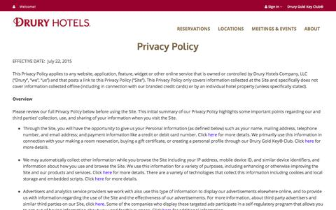 Screenshot of Privacy Page druryhotels.com - Privacy Policy - Drury Hotels - captured Oct. 13, 2017