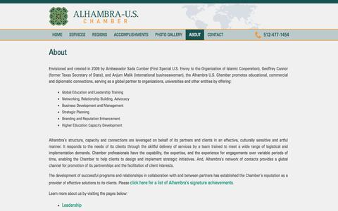 Screenshot of About Page alhambrauschamber.org - About | Alhambra U.S. Chamber - captured Nov. 20, 2016