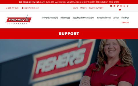 Screenshot of Support Page fisherstech.com - Support   Fisher's Technology   Office Equipment - captured Oct. 10, 2018