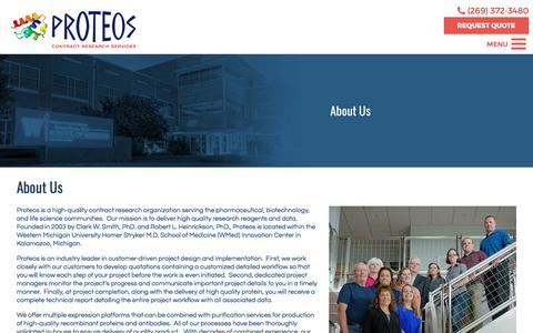 Screenshot of About Page proteos.com - About Us   Proteos, Inc. - captured April 11, 2017