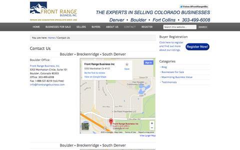 Screenshot of Contact Page frontrangebusiness.com - Contact Us - captured Sept. 19, 2014