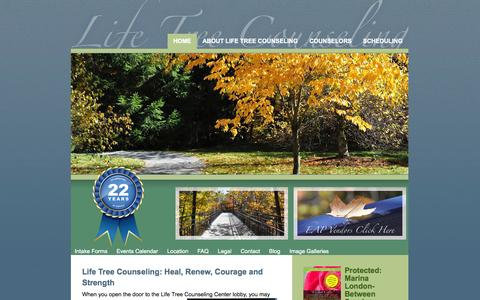 Screenshot of Home Page lifetreecounseling.com - Home - Life Tree Counseling - captured Oct. 2, 2014