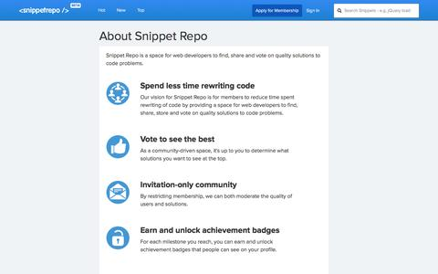 Screenshot of About Page snippetrepo.com - About |           Snippet Repo - captured Nov. 4, 2014