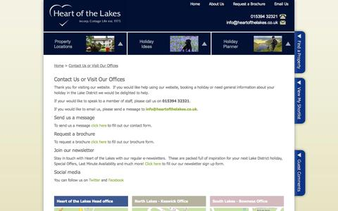 Screenshot of Contact Page heartofthelakes.co.uk - Contact Us or Visit Our Offices - captured Sept. 19, 2014