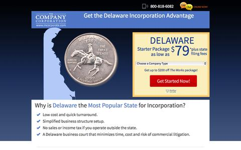 Screenshot of Landing Page incorporate.com - Create your company in Delaware - The Company Corporation - captured Oct. 27, 2014