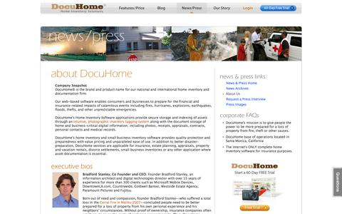 Screenshot of About Page docuhome.com - About Us : Home Inventory Specialists : Home Inventory Services : DocuHome.com - captured Jan. 7, 2016