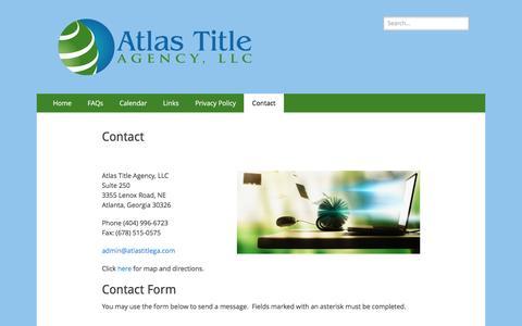 Screenshot of Contact Page atlastitlega.com - Contact – Atlas Title Agency, LLC - captured Nov. 21, 2016