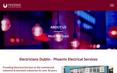 Screenshot of About Page phoenixes.ie - Electricians Dublin - Call Us: (01) 2851139 - Phoenix Electrical - captured Sept. 28, 2018
