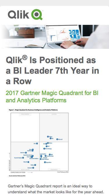 Qlik | 2017 Gartner Magic Quadrant for BI and Analytics