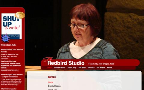 Screenshot of Menu Page redbirdstudio.com - Judy Bridges | Redbird Studio | Shut Up & Write! the book | Writing Classes and Retreats | Milwaukee, Wisconsin - captured June 16, 2017
