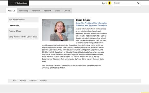 Screenshot of Team Page collegeboard.org - Terri Shaw - Senior Vice President and Chief Information Officer - The College Board - captured Jan. 4, 2019