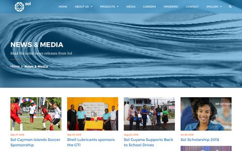 Screenshot of Press Page solpetroleum.com - News & Media - Welcome to The Sol Group - captured Sept. 30, 2018