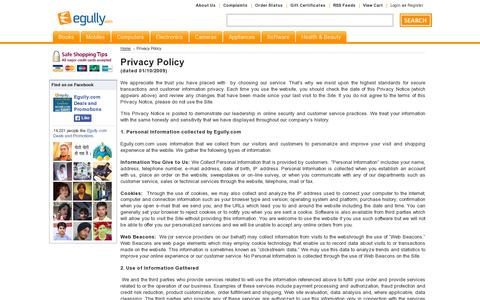 Screenshot of Privacy Page egully.com - Privacy Policy - captured July 19, 2014