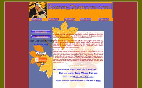 Screenshot of Home Page senior-chatroom.com - Free Senior Chat Rooms for seniors with Webcam chat 40 50 60 years old age plus at Senior-Chatroom.com - captured Sept. 7, 2015