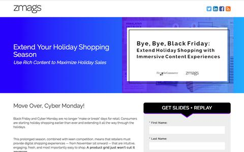 Screenshot of Landing Page zmags.com - Zmags | Webinar: Extend Holiday Shopping with Immersive Content Experiences - captured Sept. 16, 2017