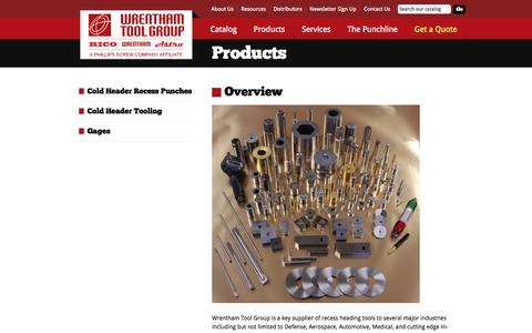 Screenshot of Products Page wrenthamtool.com - Wrentham Tool Group: Global supplier of cold heading, forming tools and gages used to produce fasteners - captured Oct. 7, 2014