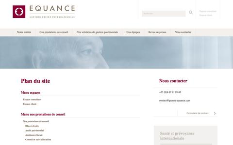 Screenshot of Site Map Page equance.com - Plan du site | Equance - captured July 20, 2018