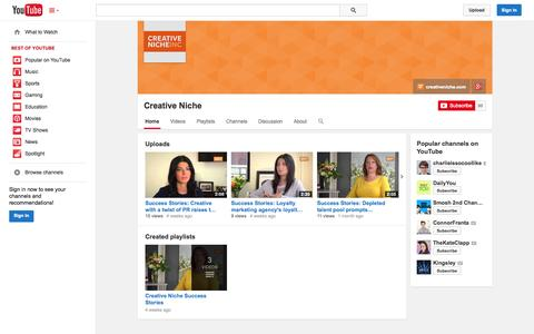 Screenshot of YouTube Page youtube.com - Creative Niche  - YouTube - captured Oct. 22, 2014