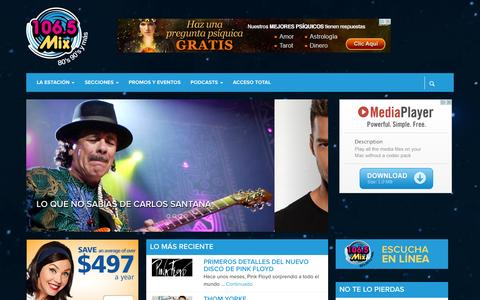 Screenshot of Home Page mixfm.mx - 106.5 Mix - captured Sept. 23, 2014