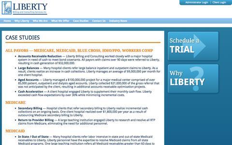 Screenshot of Case Studies Page libertybilling.com - Liberty Billing  » Case Studies - captured Oct. 2, 2014
