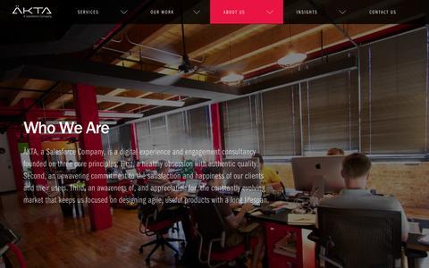 Screenshot of About Page akta.com - About Us - ÄKTA - Chicago - captured Dec. 4, 2015
